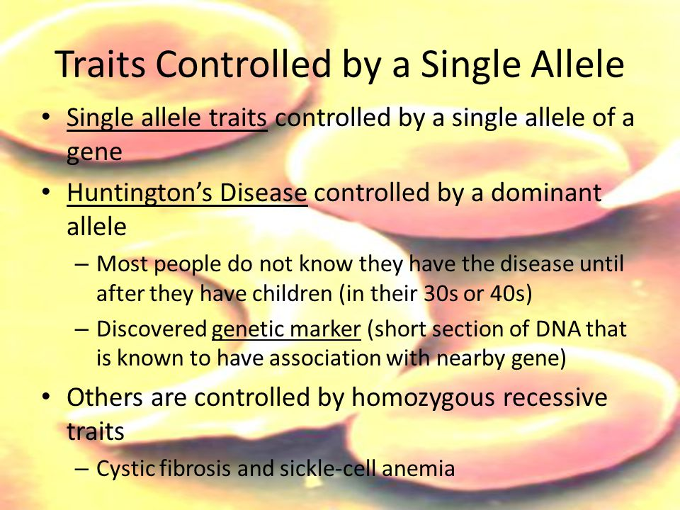 Traits Controlled by a Single Allele