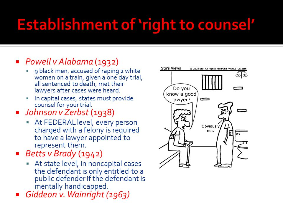 Establishment of 'right to counsel'