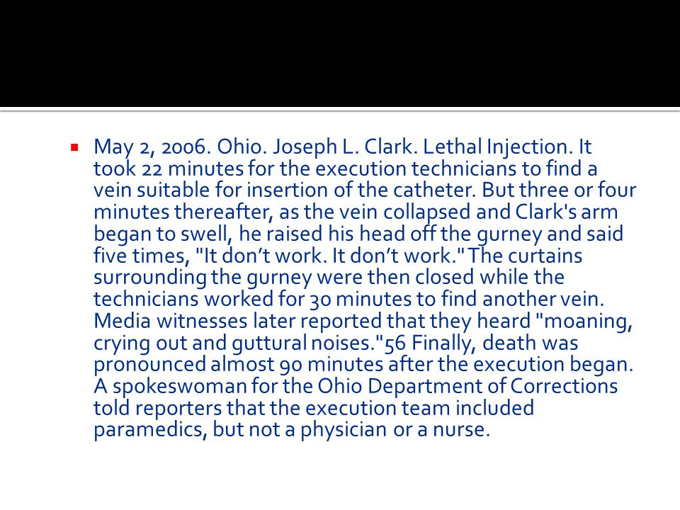 May 2, 2006. Ohio. Joseph L. Clark. Lethal Injection
