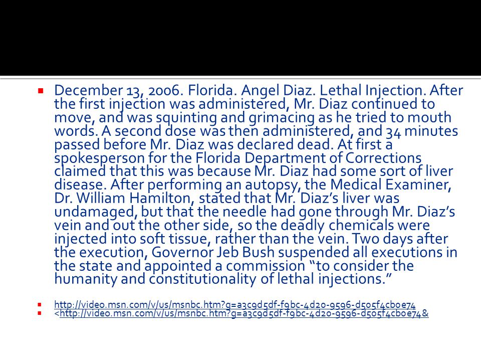December 13, 2006. Florida. Angel Diaz. Lethal Injection