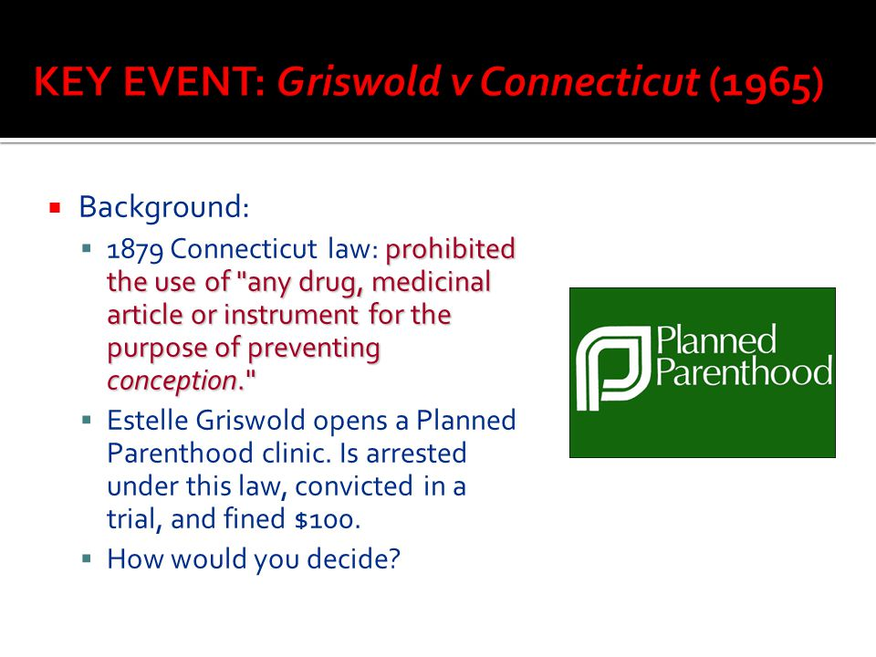 KEY EVENT: Griswold v Connecticut (1965)