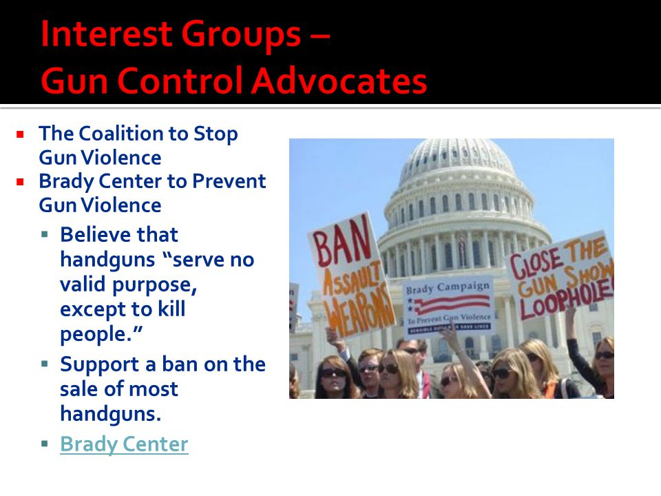Interest Groups – Gun Control Advocates