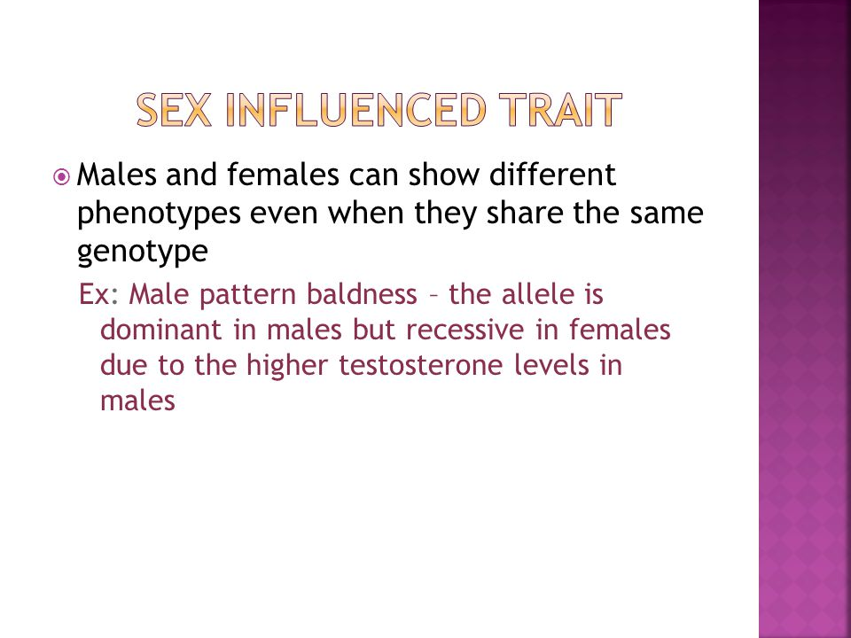 Sex Influenced Trait Males and females can show different phenotypes even when they share the same genotype.