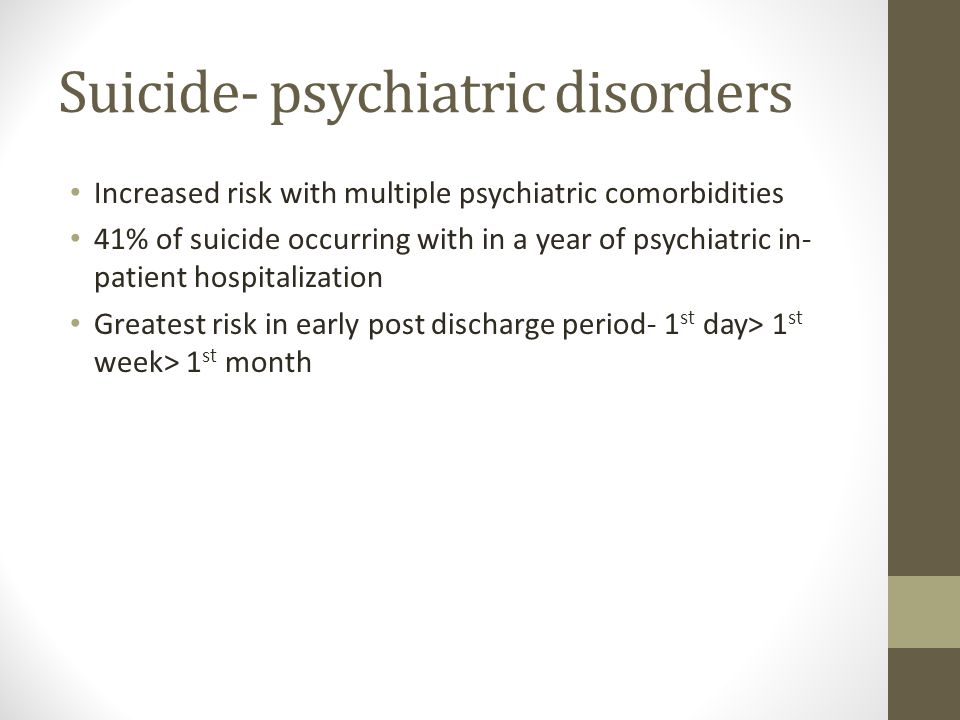 Suicide- psychiatric disorders