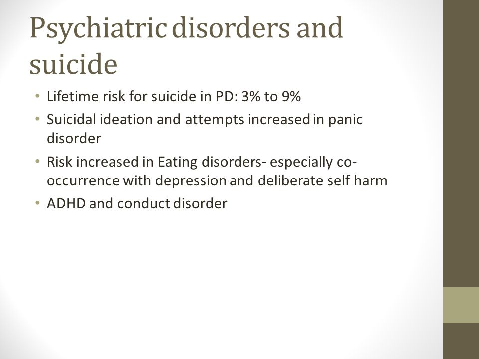 Psychiatric disorders and suicide
