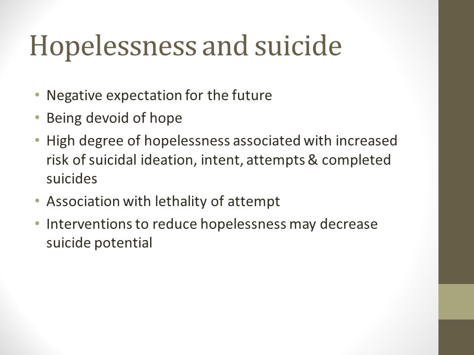 Hopelessness and suicide