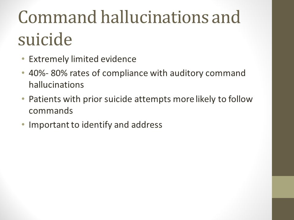 Command hallucinations and suicide