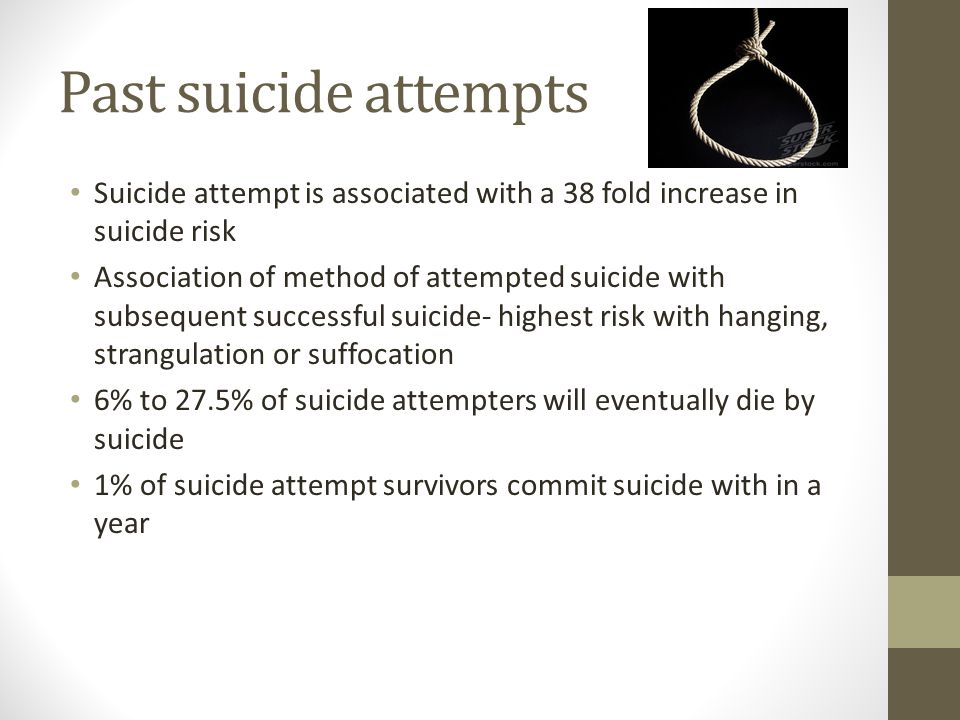 Past suicide attempts Suicide attempt is associated with a 38 fold increase in suicide risk.