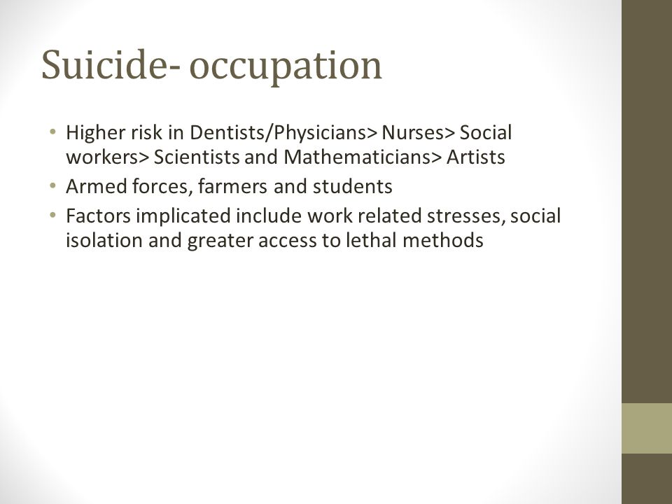 Suicide- occupation Higher risk in Dentists/Physicians> Nurses> Social workers> Scientists and Mathematicians> Artists.