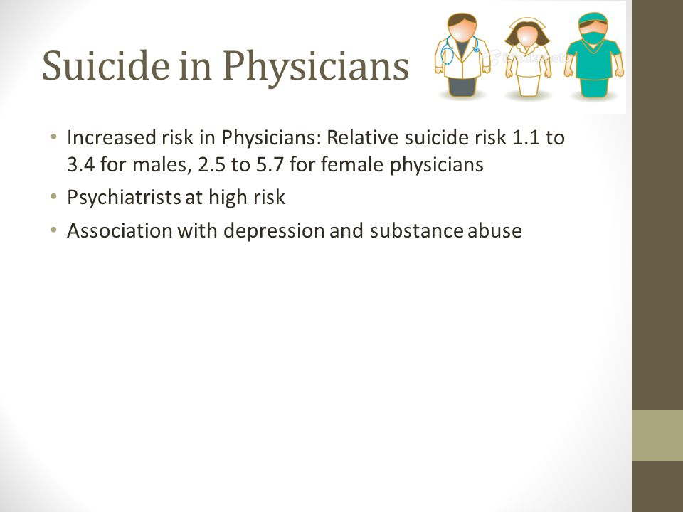 Suicide in Physicians Increased risk in Physicians: Relative suicide risk 1.1 to 3.4 for males, 2.5 to 5.7 for female physicians.
