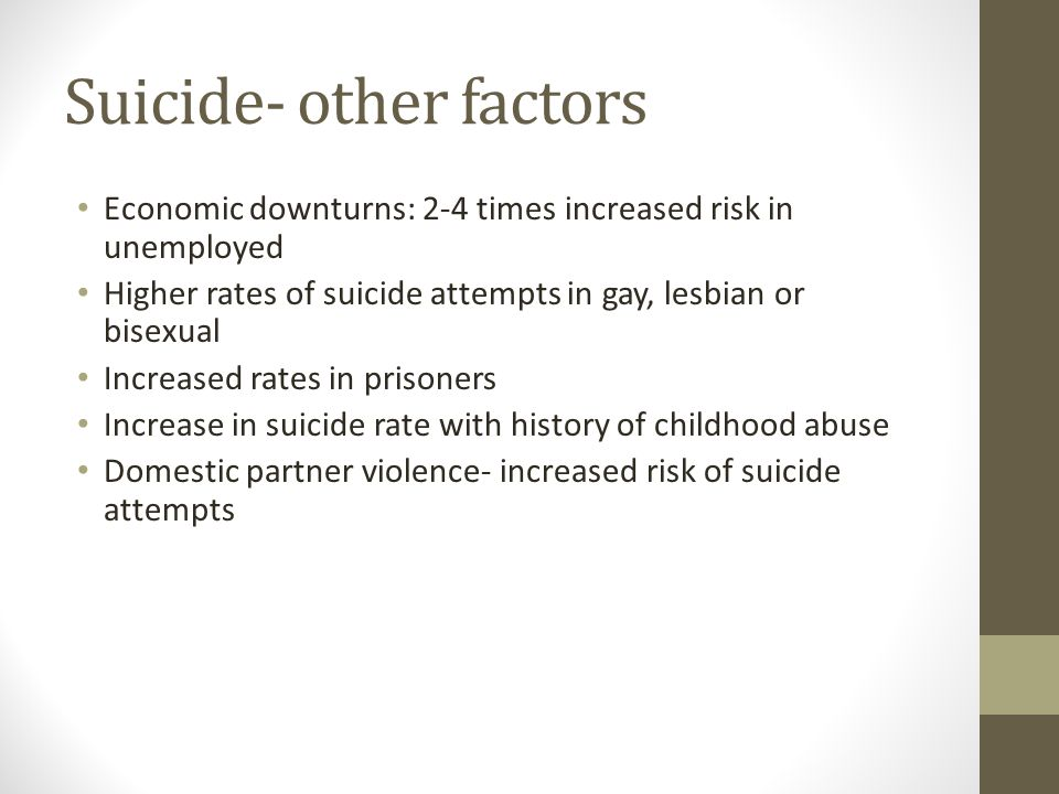 Suicide- other factors