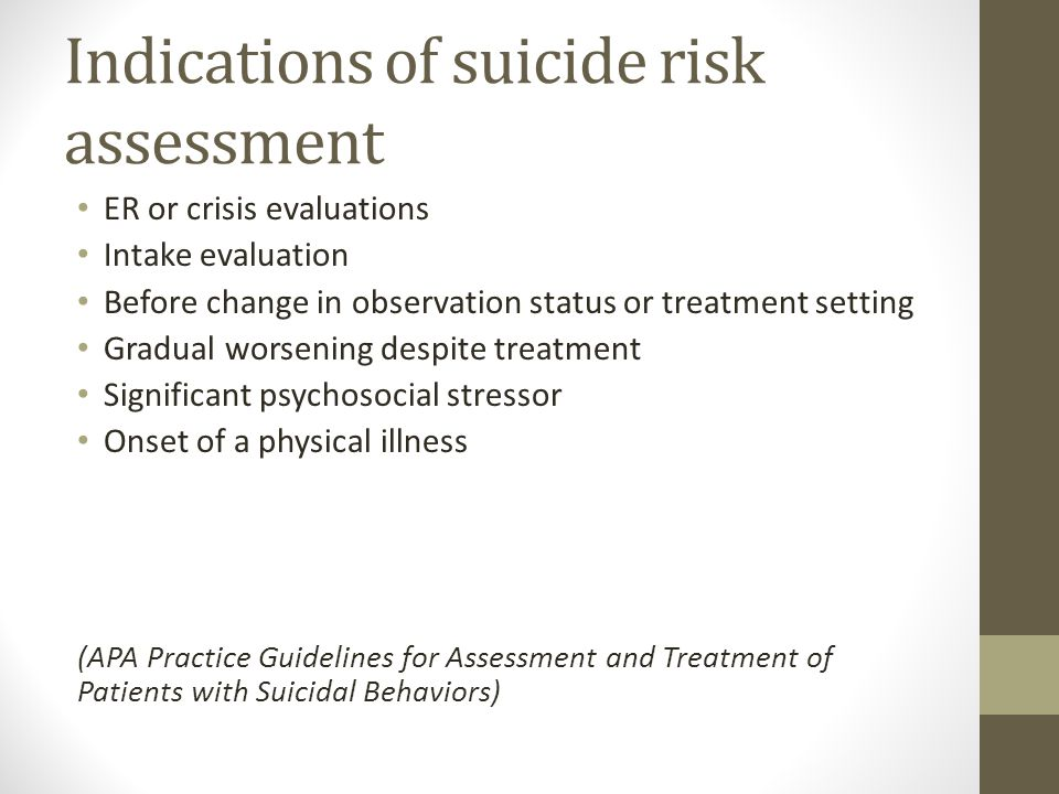 Indications of suicide risk assessment