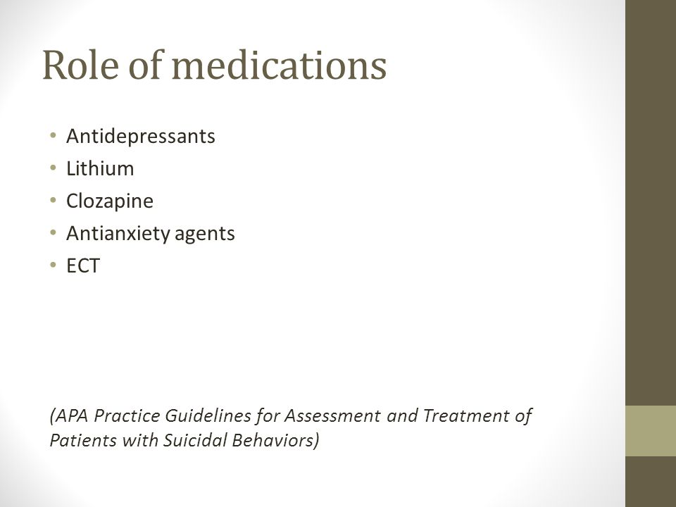 Role of medications Antidepressants Lithium Clozapine