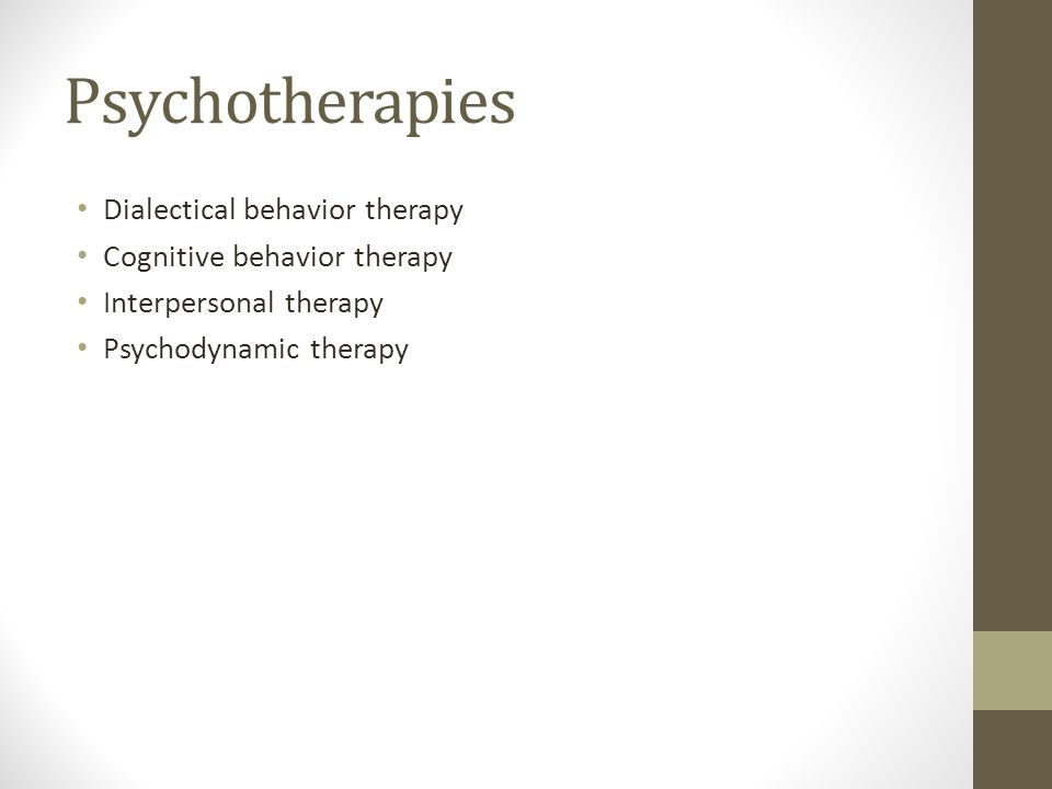Psychotherapies Dialectical behavior therapy