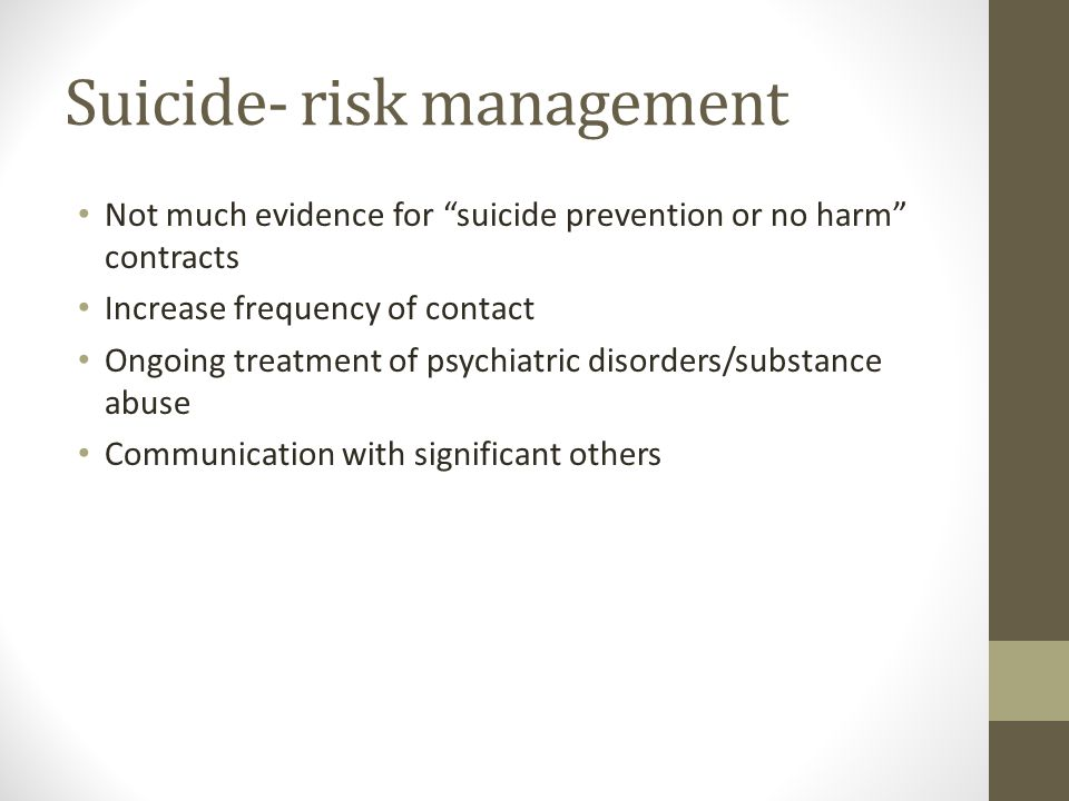 Suicide- risk management