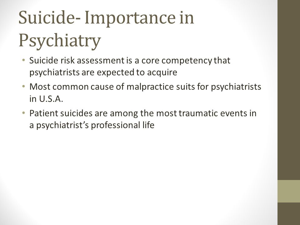 Suicide- Importance in Psychiatry
