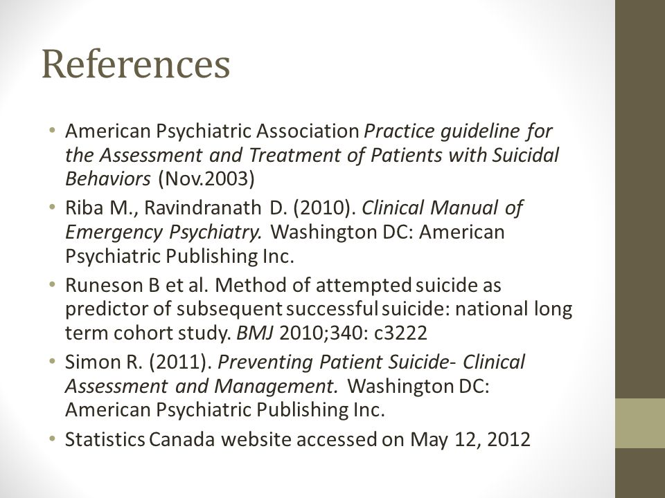 References American Psychiatric Association Practice guideline for the Assessment and Treatment of Patients with Suicidal Behaviors (Nov.2003)
