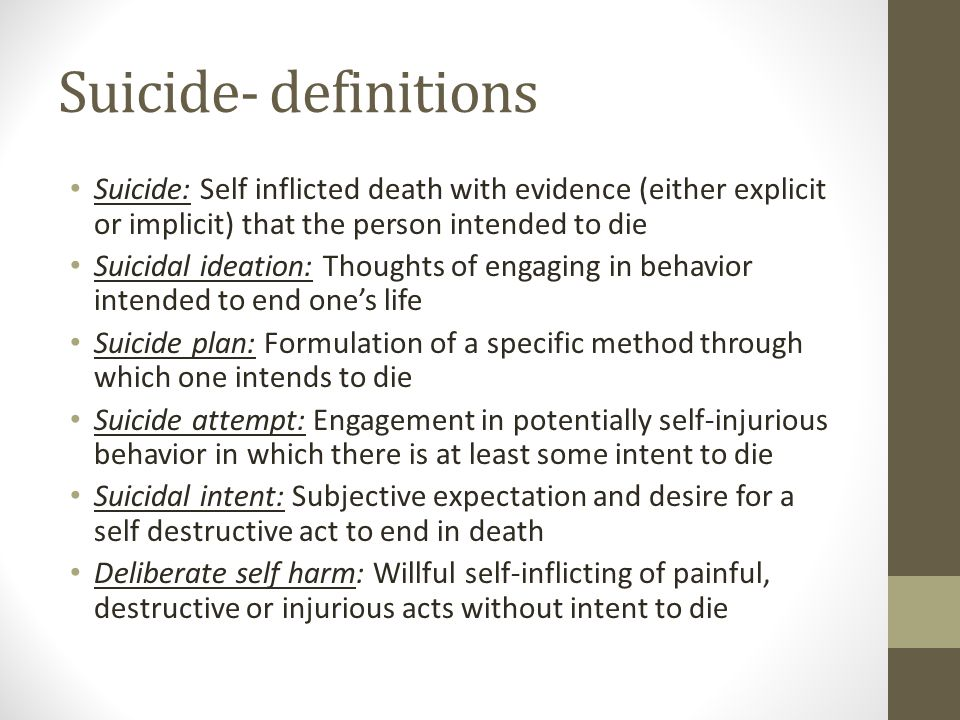 Suicide- definitions Suicide: Self inflicted death with evidence (either explicit or implicit) that the person intended to die.