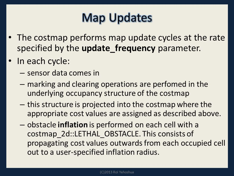 Map Updates The costmap performs map update cycles at the rate specified by the update_frequency parameter.
