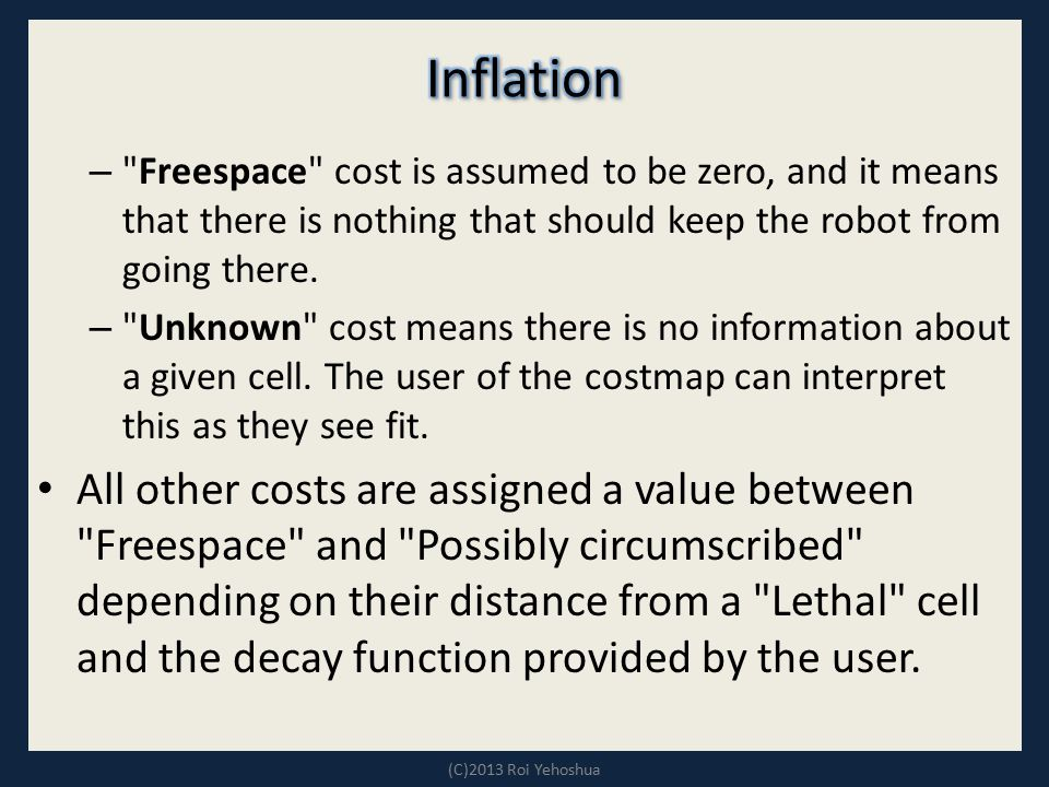 Inflation Freespace cost is assumed to be zero, and it means that there is nothing that should keep the robot from going there.