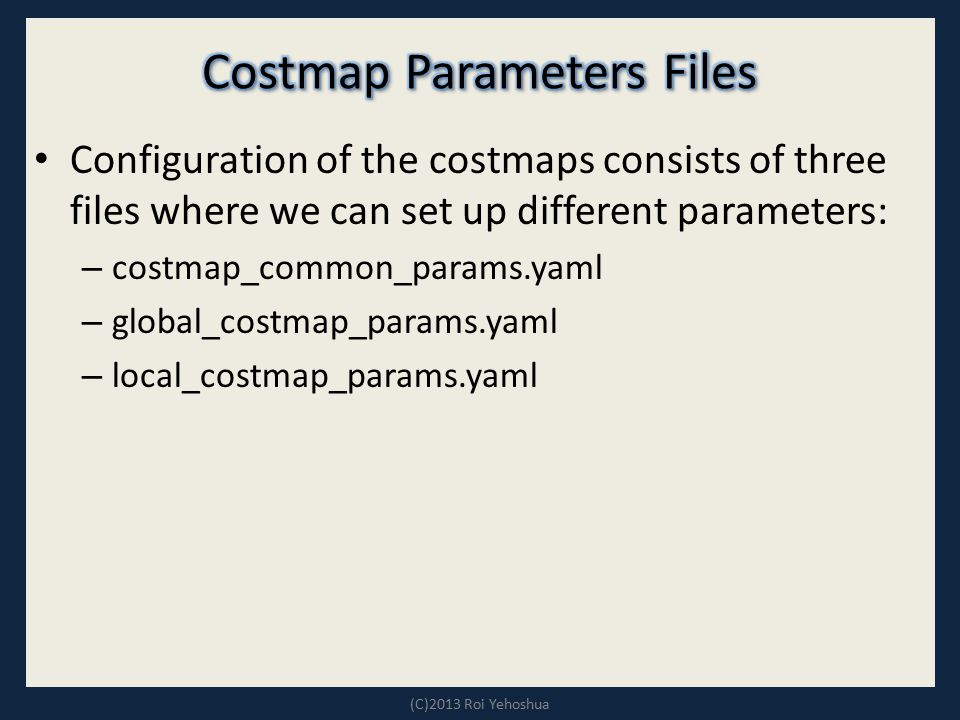 Costmap Parameters Files