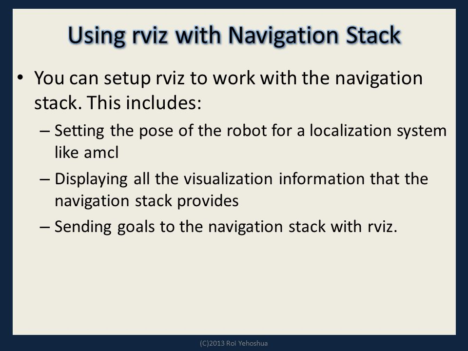 Using rviz with Navigation Stack