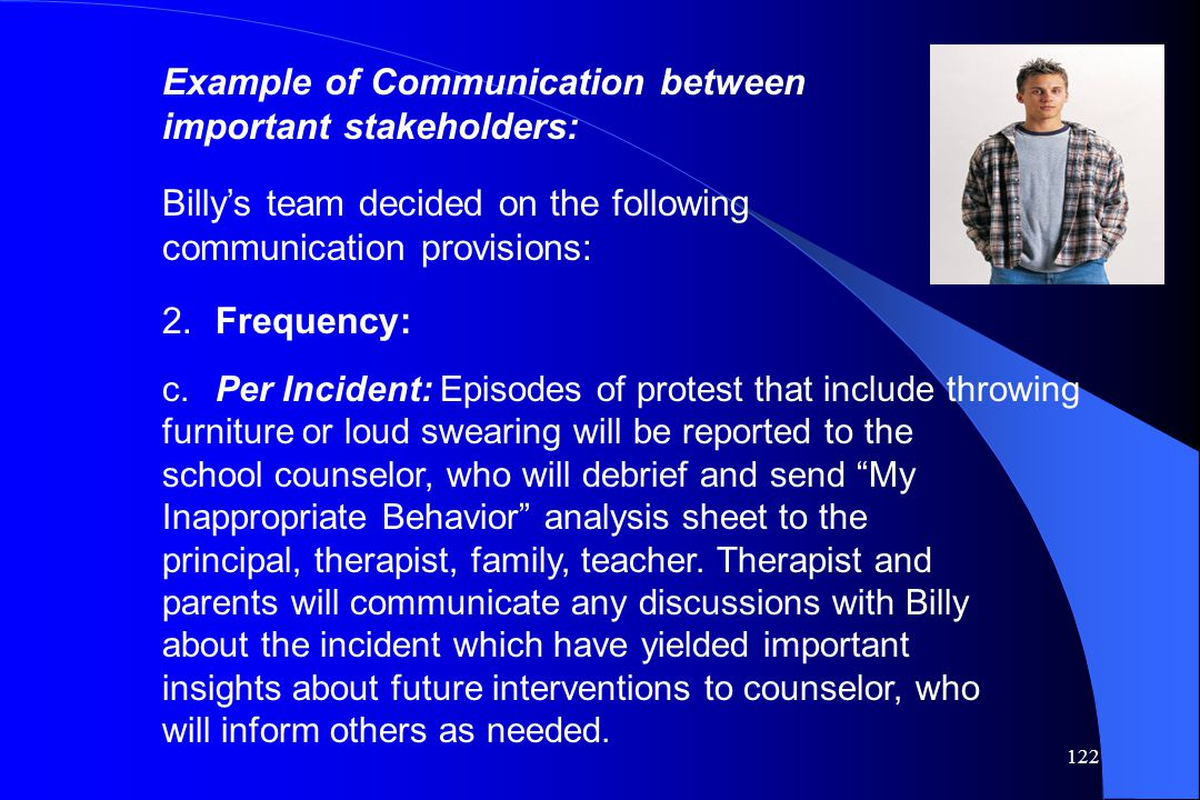 Example of Communication between important stakeholders: