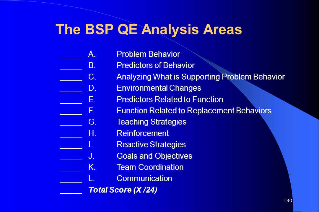 The BSP QE Analysis Areas