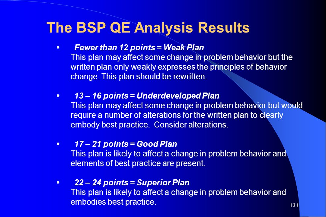 The BSP QE Analysis Results