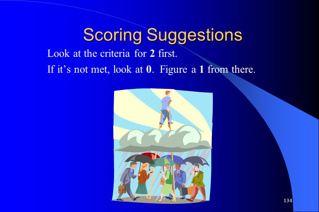 Scoring Suggestions Look at the criteria for 2 first.