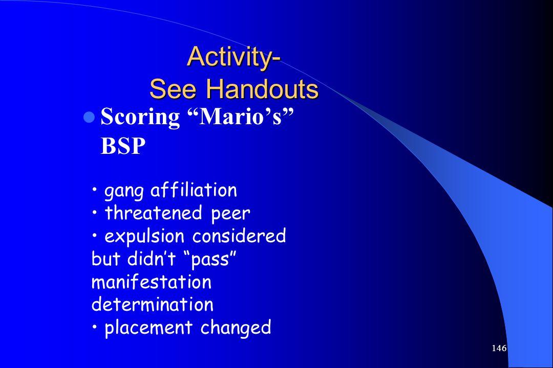 Activity- See Handouts