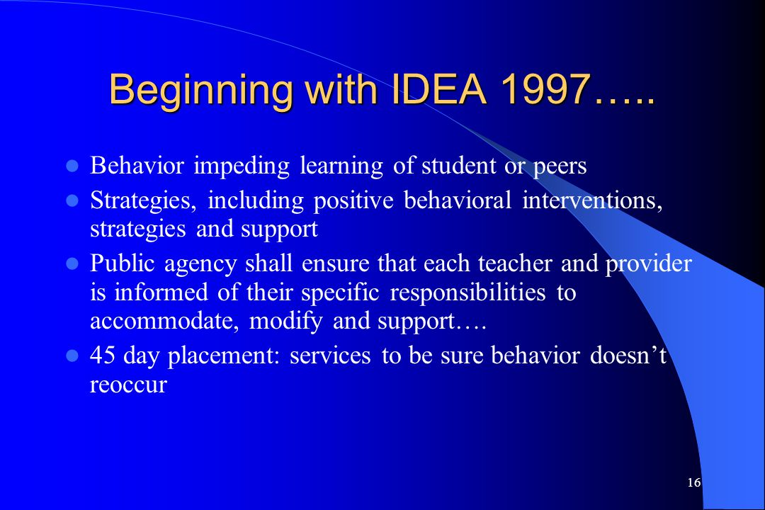 Beginning with IDEA 1997….. Behavior impeding learning of student or peers.