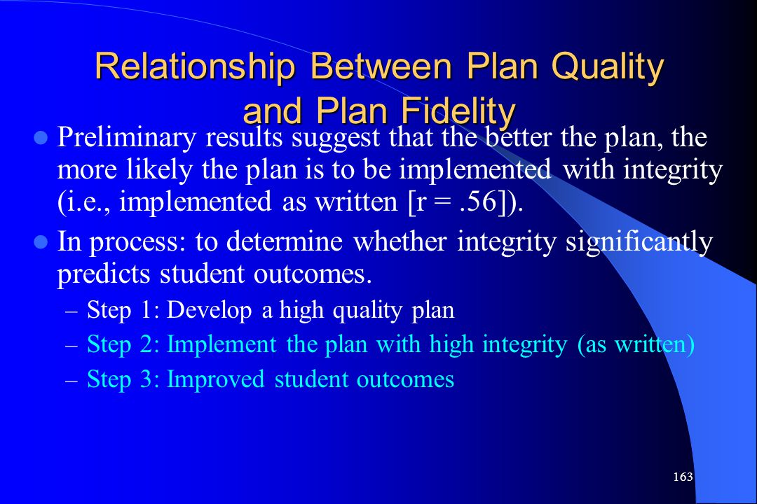 Relationship Between Plan Quality and Plan Fidelity