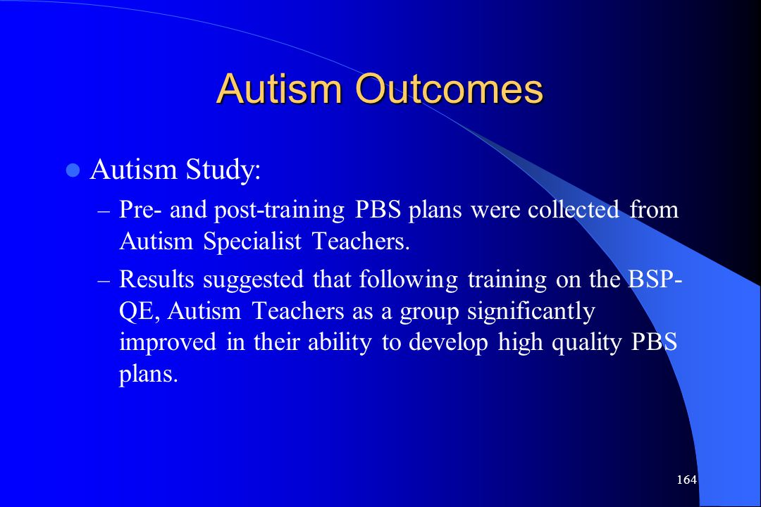 Autism Outcomes Autism Study: