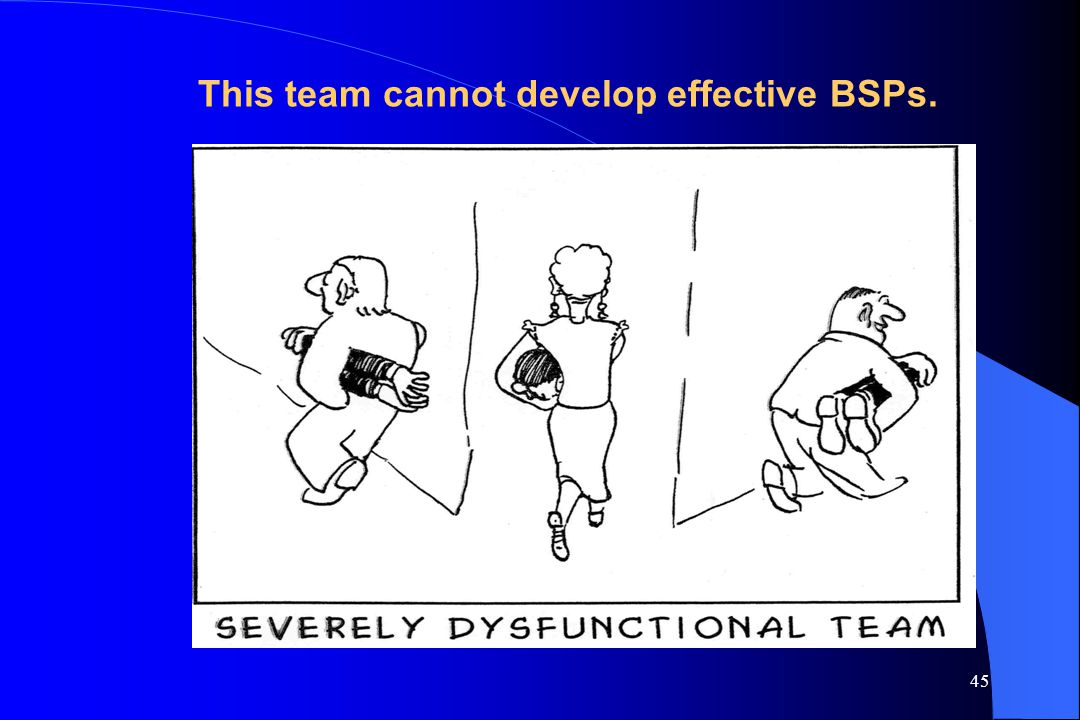 This team cannot develop effective BSPs.