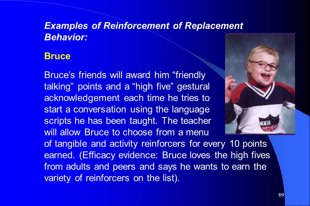 Examples of Reinforcement of Replacement Behavior: