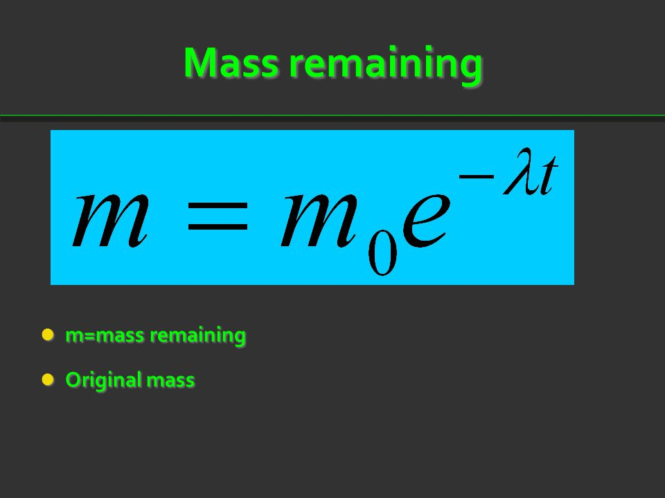 Mass remaining m=mass remaining Original mass