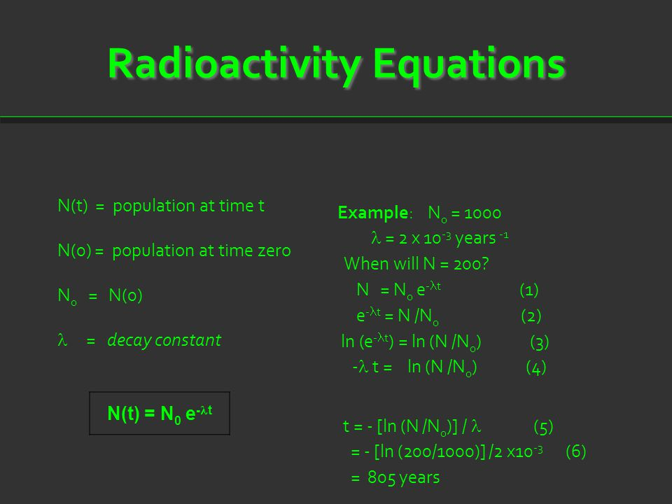 Radioactivity Equations