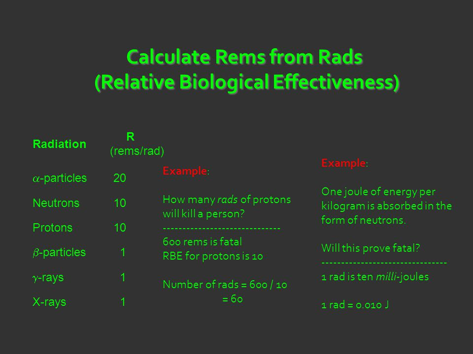 Calculate Rems from Rads (Relative Biological Effectiveness)