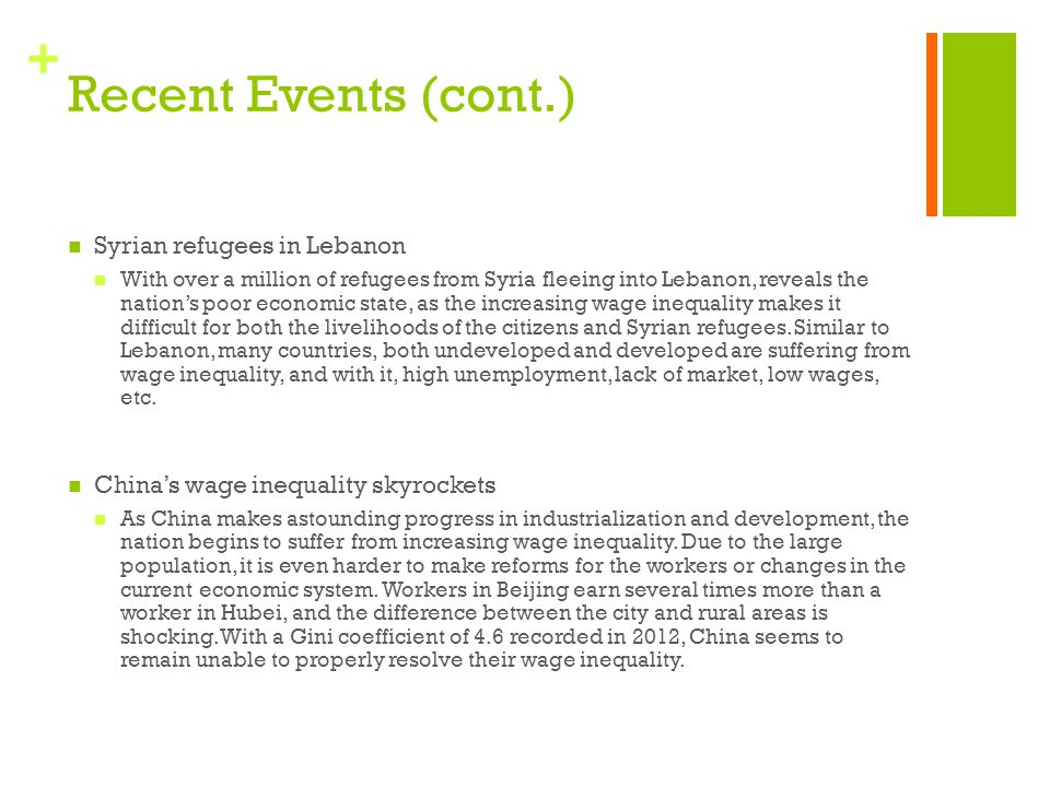 Recent Events (cont.) Syrian refugees in Lebanon