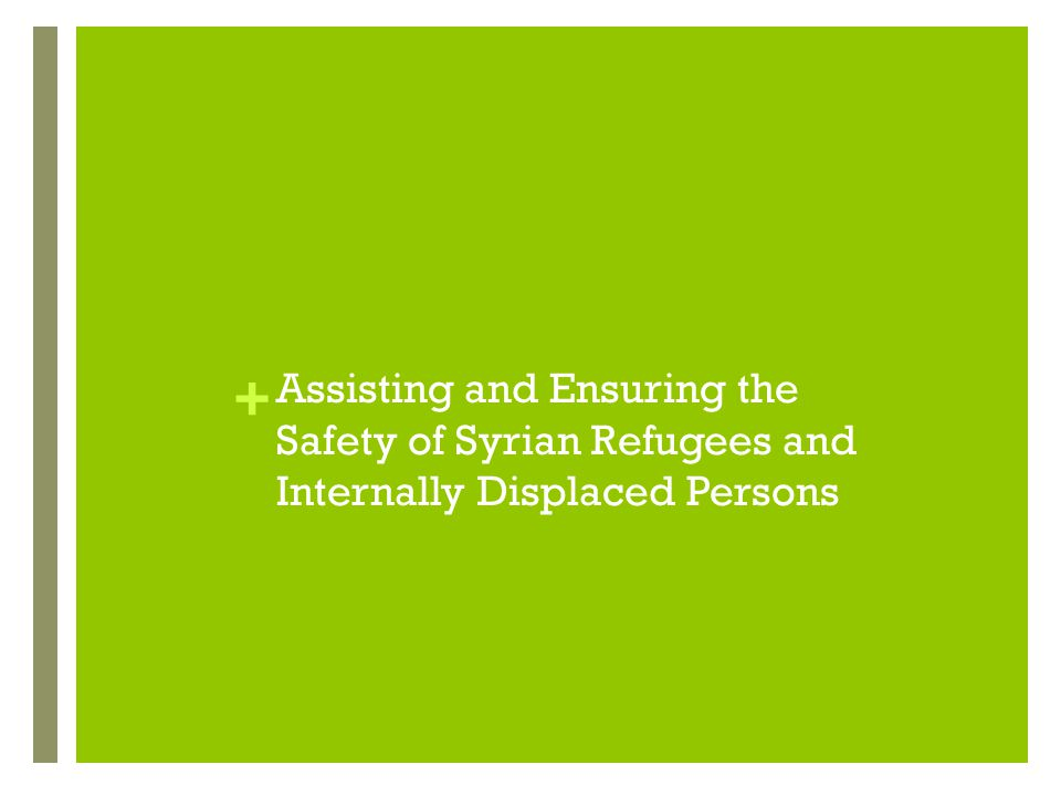 Assisting and Ensuring the Safety of Syrian Refugees and Internally Displaced Persons