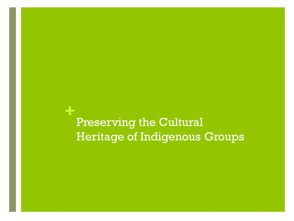 Preserving the Cultural Heritage of Indigenous Groups