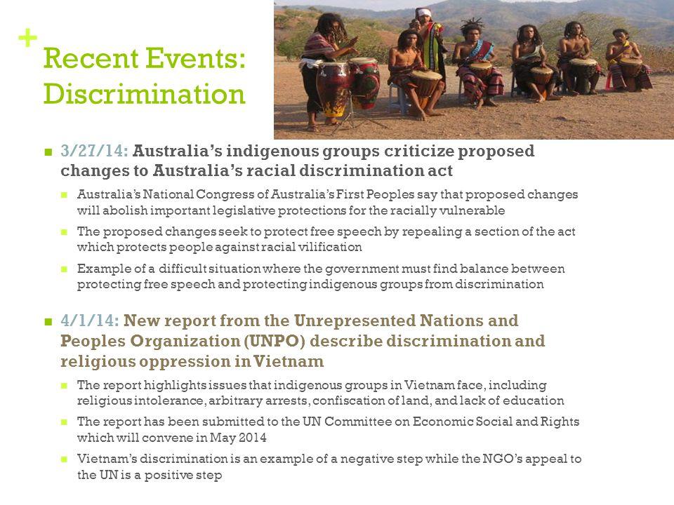Recent Events: Discrimination