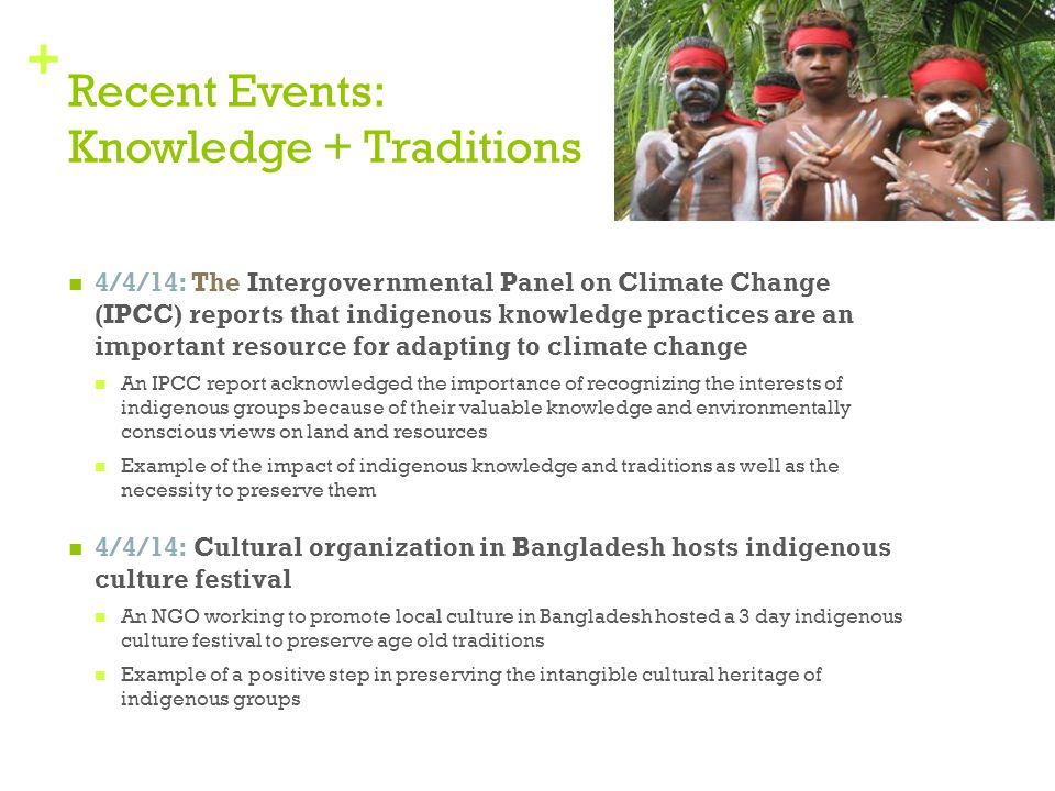 Recent Events: Knowledge + Traditions