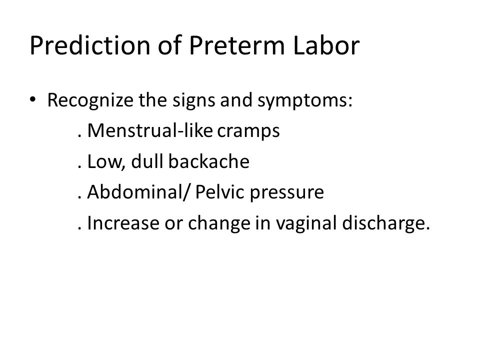 Prediction of Preterm Labor
