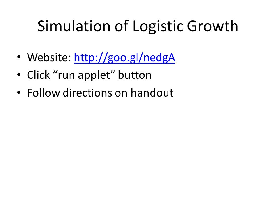Simulation of Logistic Growth