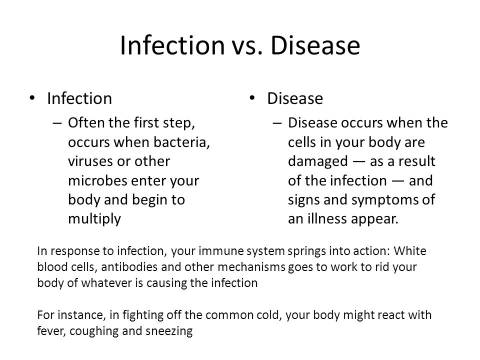 Infection vs. Disease Infection Disease