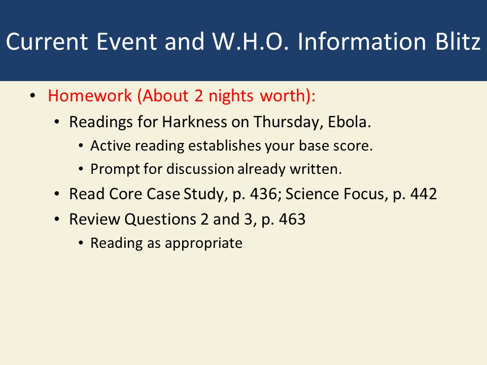 Current Event and W.H.O. Information Blitz