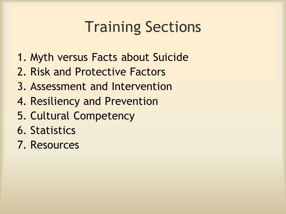 Training Sections 1. Myth versus Facts about Suicide