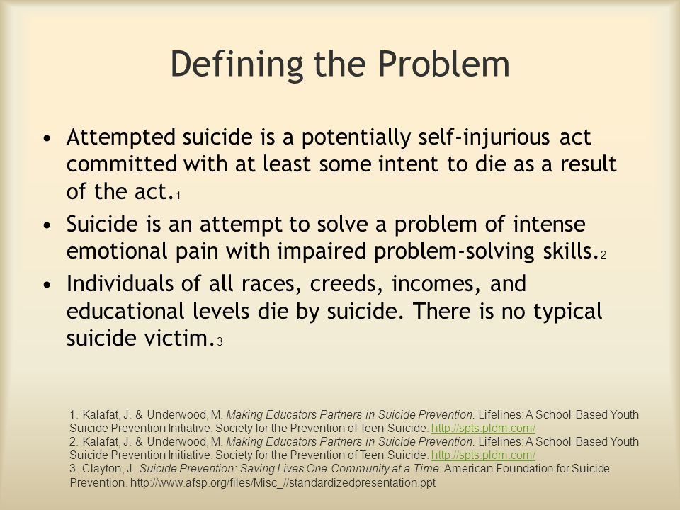 Defining the Problem Attempted suicide is a potentially self-injurious act committed with at least some intent to die as a result of the act.1.